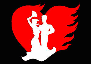 Dancers in front of flaming heart