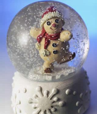 dancing snowman in a snow globe