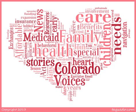 Heart-shaped word cloud with text from familyvoicesco.org