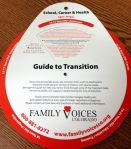 """Guide to Transition"" tool is a paper wheel that displays transition goals and tasks by age and life domain"