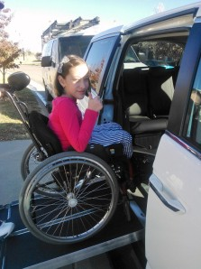 Erika uses her new wheelchair ramp